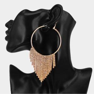 Jewelry - CRYSTAL STONE DROP FRINGE HOOP EARRINGS